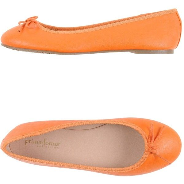 Primadonna Ballet Flats ($47) ❤ liked on Polyvore featuring shoes, flats, orange, flat shoes, ballet pumps, round cap, ballerina flat shoes and round toe ballet flats