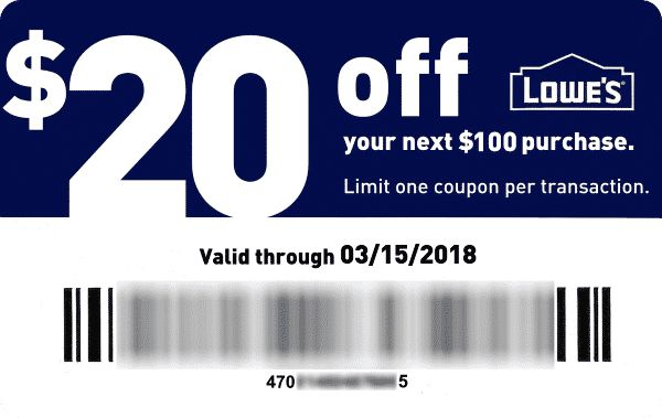 $20 off of$100 Lowes coupon