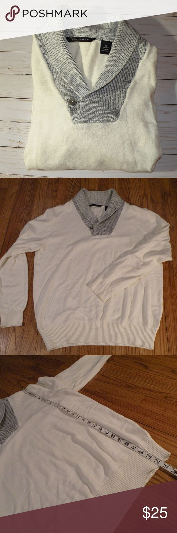 Sean John Cowl Neck Sweater Men's white sweater with grey cowl neck Size XL Excellent used condition Measurements in photos 20% off bundles of 2 or more SHIPS FAST! Sean John Sweaters