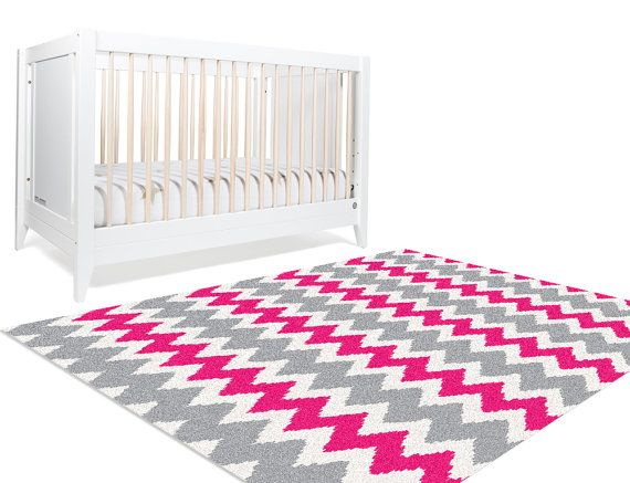 Decorative Rug, Chevron Area Rug, Area Rug 5x8, Hot Pink Rug, Rugs