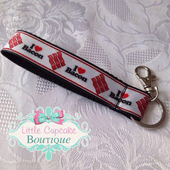 I Heart Bacon Key Fob Wristlet Keychain- Handmade Nylon and Ribbon Wristlet with Lobster Clasp ...