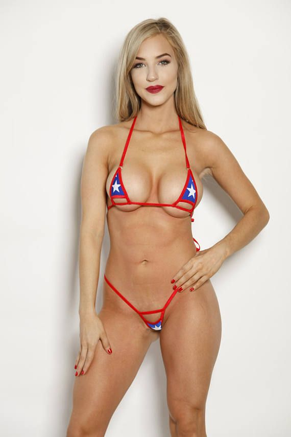 bcec47bc44262 American Stars with Silver Rings Red String Peek a Boo Exposed Micro  Extreme Bikini. Set Includes Mini G-String Bottom,Triangle Top.
