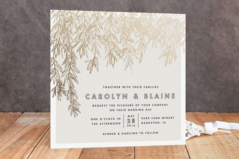"""Olive Branches"" - Modern, Classical Foil-pressed Wedding Invitations in Gold by Carolyn Nicks."