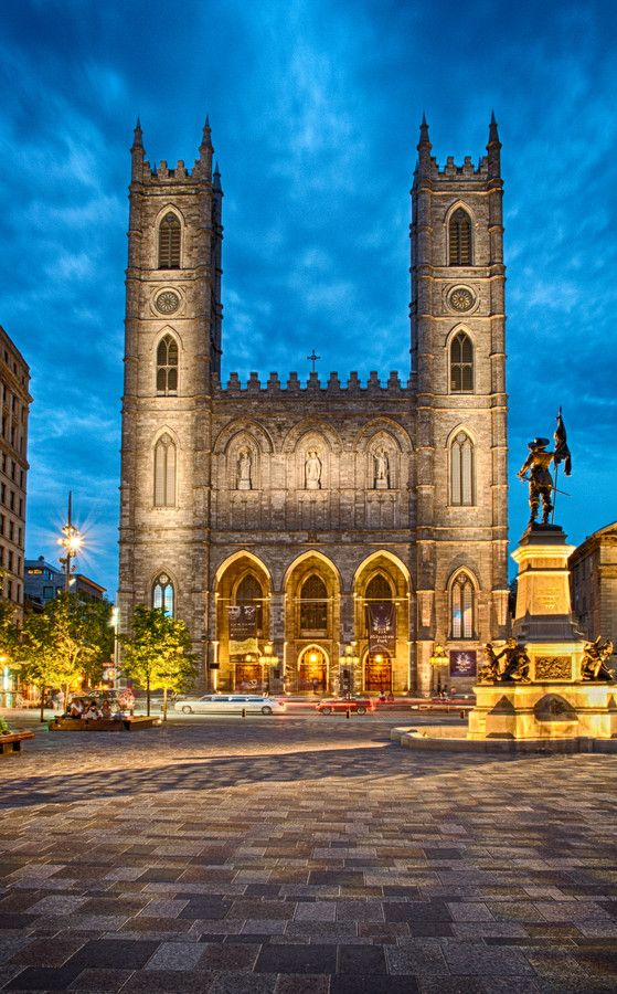 Notre Dame Cathedral - Montreal, Canada, 1823 AD. Astrogeographical position: the air sign Gemini indicator of the two tower structure of the facade and the air sign Aquarius for radius/field level 4.