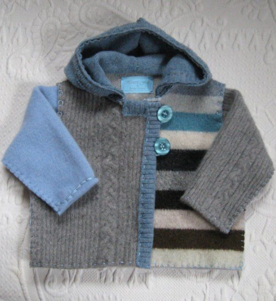 RON Baby Hoodie made from recycled materials 367 by heartfeltbaby, $70.00