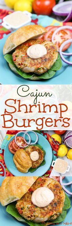 Healthy Cajun Shrimp Burgers recipe with Greek Yogurt Cajun Sauce (a healthy version of remoulade!) A tasty, easy pescatarian dinner-- serve them them grilled or cooked on the stove. The best seafood burger you'll try! / Running in a Skirt