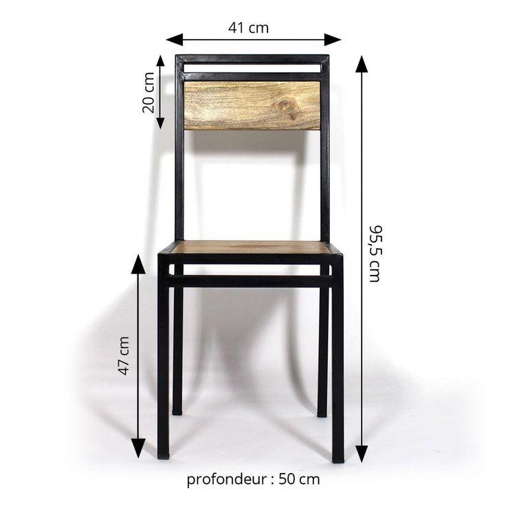 Chaise industrielle métal et bois de manguier – #bois #Chaise #DE #industrielle…