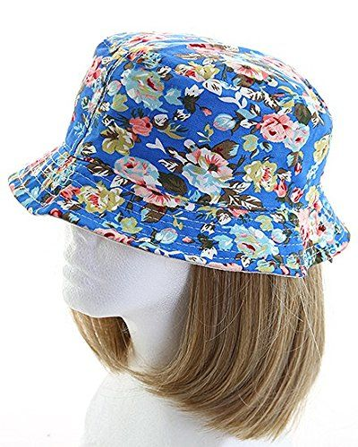 Fashion Floral Women's Bucket Sun Hat (Blue)