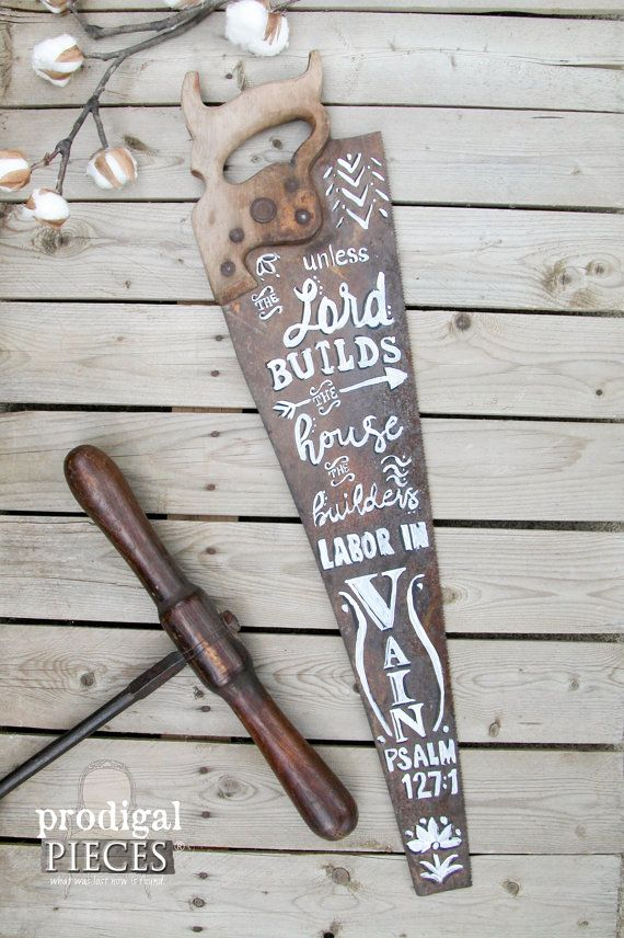 Custom Vintage Wood Saw with Hand-Painted Chalkboard Typography Art ~ Rustic Farmhouse Shabby Chic Cottage Style by Prodigal Pieces. www.prodigalpieces.com