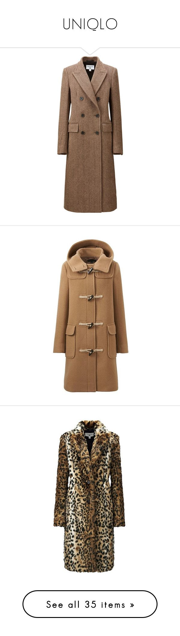 """UNIQLO"" by jckyleeah ❤ liked on Polyvore featuring uniqlo, outerwear, coats, brown, longline coat, long lapel coat, brown double breasted coat, pattern coat, uniqlo coats and toggle coats"