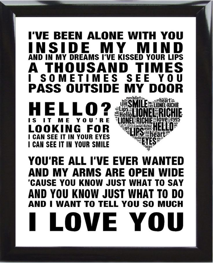Lionel Richie music song lyrics Hello Word Art Print Poster Wedding Love Heart