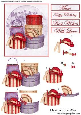 Hats, Bags and Pretty Boxes Decoupage - great for embelishment on Red Hatter card