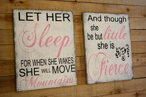 Let Her Sleep And Though She Be But Little She Is Fierce Wood Signs Girls Nursery Decor Pink and Black Nursery Shabby Chic Nursery Handmade