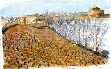 Si chiama 'I tetti di Roma raccontano' (con introduzione di Valerio Mafrelli, edizioni arte'm, 40 euro) il volume che raccoglie le tavole che l'artista romano ha dedicato agli scorci della Capitale vista dall'alto dei suoi palazzi. Angoli celebratissimi (Piazza Navona, il Tevere con Castel Sant'Angelo)