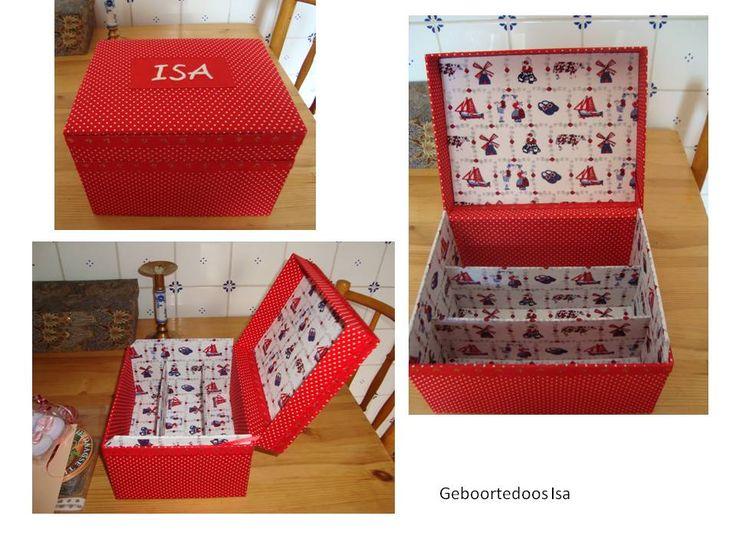 Geboortedoos - gemaakt van oude kartonnen opbergmappen, bekleed met katoen , naam geborduurd met steelsteek  benalwaysbusy@gmail.com