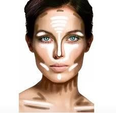 Illustration of where to contour & hi-light. Sculpt that face!