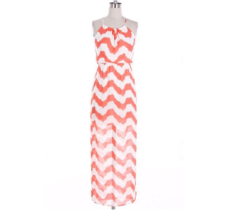 Coral Chevron Maxi Dress with Cross Strapes