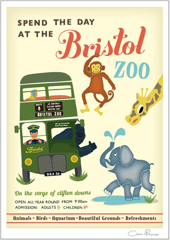 Bristol Zoo A4 Print by Clareillustrates on Etsy
