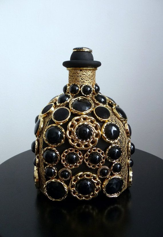 Decorative Glass Bottle with gold black buttons  by ArtBargainz
