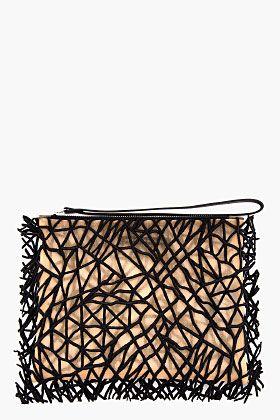 Christopher Kane Black Embroidered Sheer Crackle Clutch for women   SSENSE