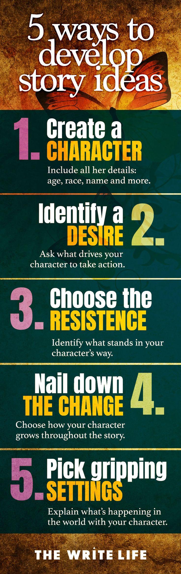 5 ways to develop story ideas. #amwriting #writingtips