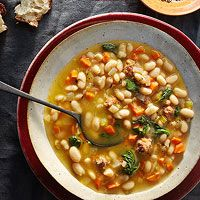 Sausage, Bean & Spinach Stew: White Beans, Cooker Recipe, Spinach Stew ...