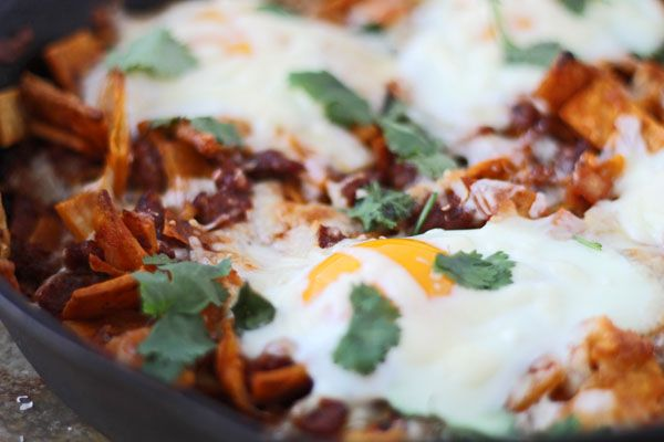 Baked Chilaquiles with Chorizo and Eggs-Lightened Up from Cooking for Keeps
