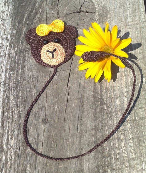 Crochet Bookmark  Crochet brown bear Homemade gifts by ElenaGift