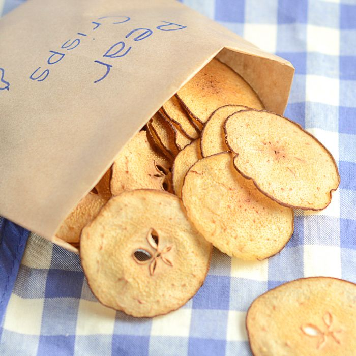 Pear crisps - A delicious, fruity and healthy alternative to crisps for your little ones to enjoy. Really easy to make and no nasty added extras.