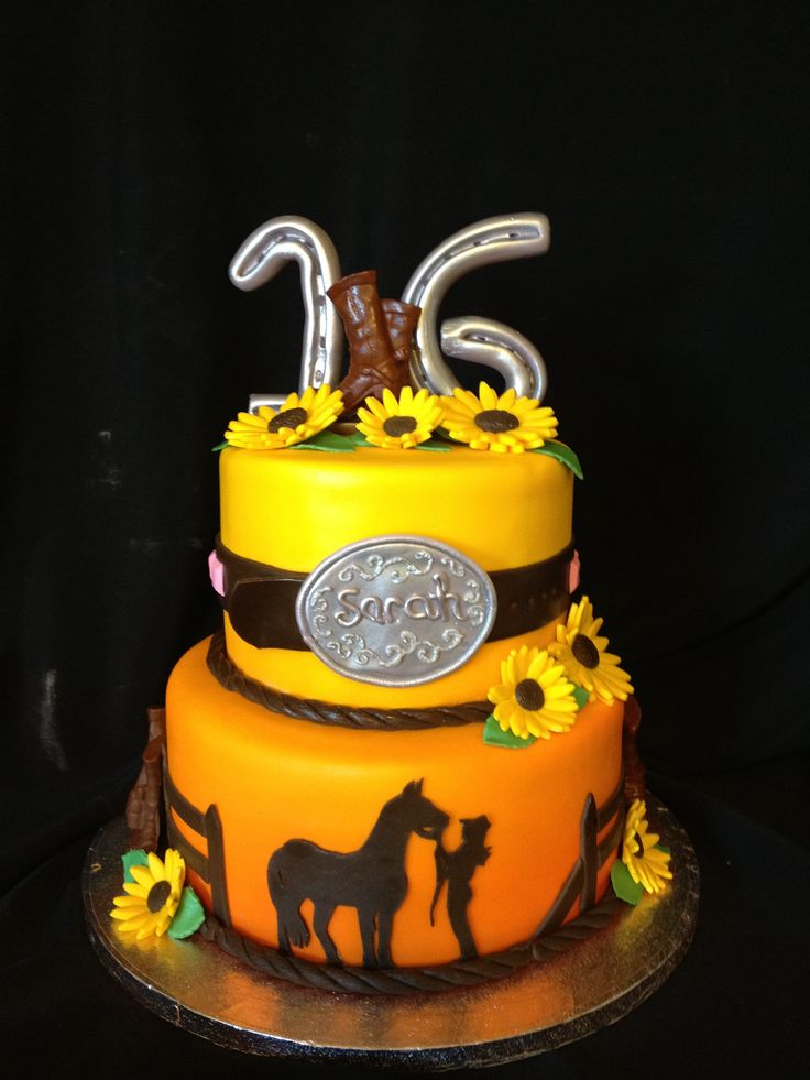 Western Cake Sweet 16 Cow Girl Cakes Pinterest