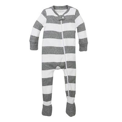 Burt's Bees Baby Boys' Organic Rugby Stripe Sleeper - Heather Gray 18M, Size: 18 M