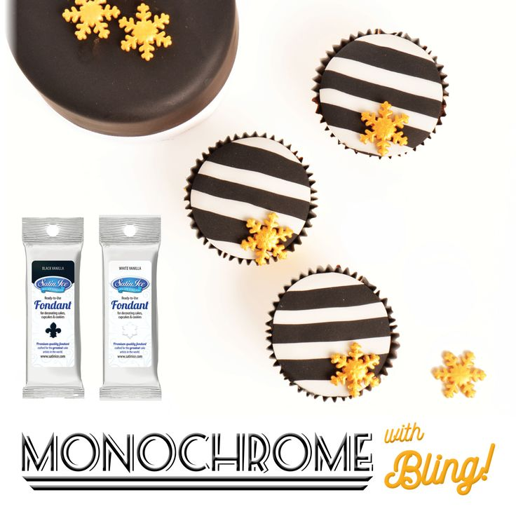 Monochrome Satin Ice Fondant with a touch of gold!