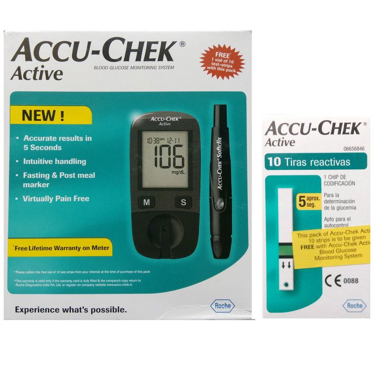 Accu Chek Active Blood Glucose Sugar Monitor + 10 Strips Free