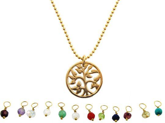 InTu jewelry | Geboortesteen ketting Tree of Life – december turquoise