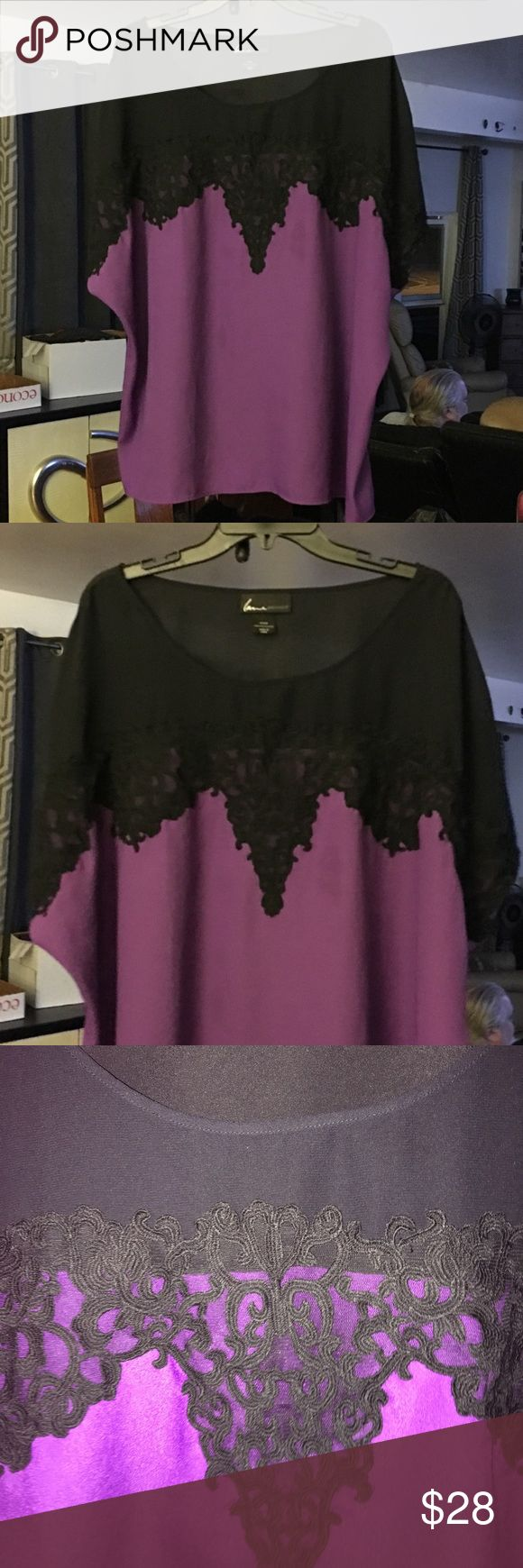 """Lane Bryant Size 26/28 Purple & Black Lace Top! This is a exquisite top! The black lace that adorns this top is stunning! These two color's together just add more and more to this top. This top has dolman short sleeves, so they have that """"capped"""" look to cover up just what we want! You can't lose with this beauty! 🌹 Lane Bryant Tops"""