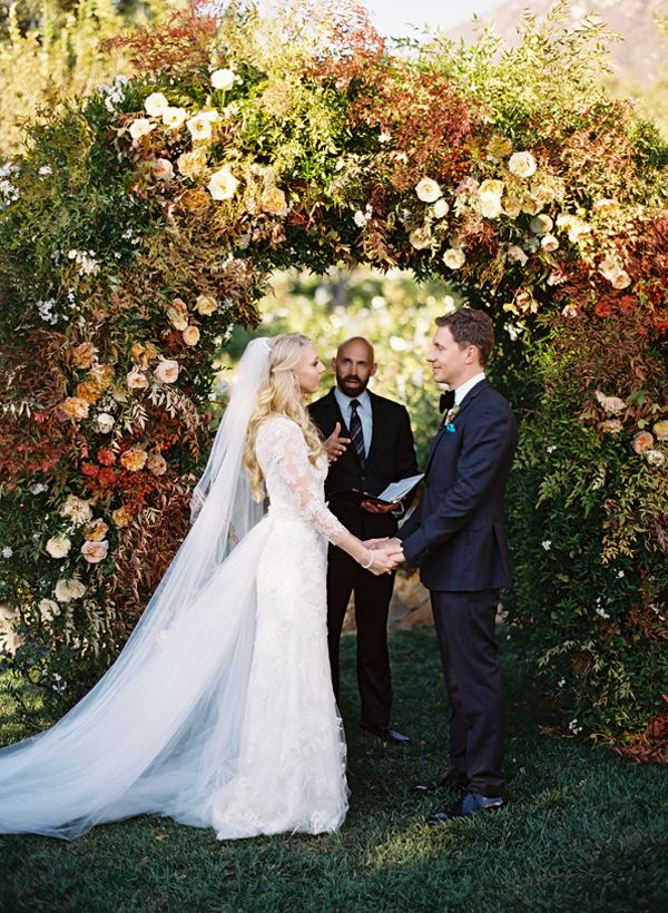 Colorful Elegant San Ysidro Ranch WeddingElegant Autumn Wedding, Autumn Arches, Dreams, Ceremonies Arches Chuppa, Beautiful Arches, Dresses, Autumn Wedding Arches, Ceremonies Arbors, Fall Wedding Arches