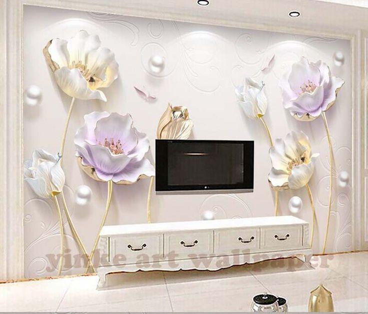 Üç boyutlu lotus duvar kağıdı oturma odası 3d duvar kağıdı tasarımları duvar kağıdı Avrupa saksı Ev odası TV arka plan duvar