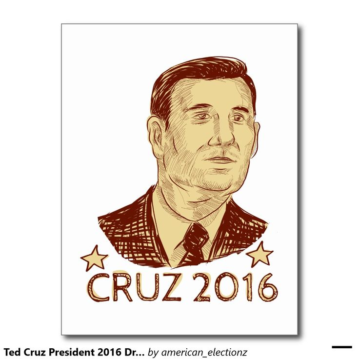 Ted Cruz President 2016 Drawing Postcard. Drawing sketch style illustration showing Rafael Edward Ted Cruz, an American senator, politician and Republican 2016 presidential candidate set inside crest shield with words Cruz 2016. #Cruz2016 #republican #americanelections #elections #vote2016 #election2016