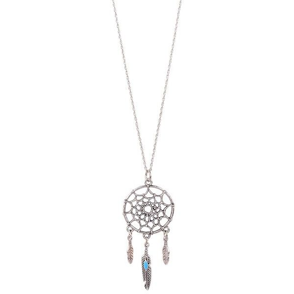 Butter Jewelry Dream Catcher Necklace (115 PLN) ❤ liked on Polyvore featuring jewelry, necklaces, accessories, silver, vintage necklaces, chains jewelry, vintage jewelry, vintage chain necklace and vintage jewellery