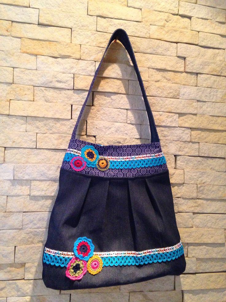 """Denim Tote bag with crockery detail, my mom made the flowers, i cant do that:-). """"Vir ma Rita vir haar verjaardag"""""""