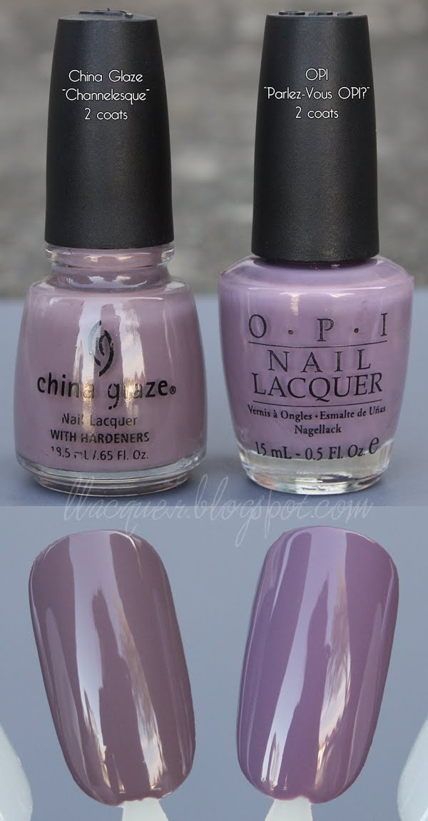 "Yacking about Lacquer: comparison: China Glaze ""Channelesque"" vs. OPI ""Parlez-Vous OPI?"""