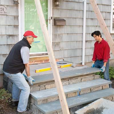 Overhaul your boring concrete porch with bluestone and natural-stone veneers