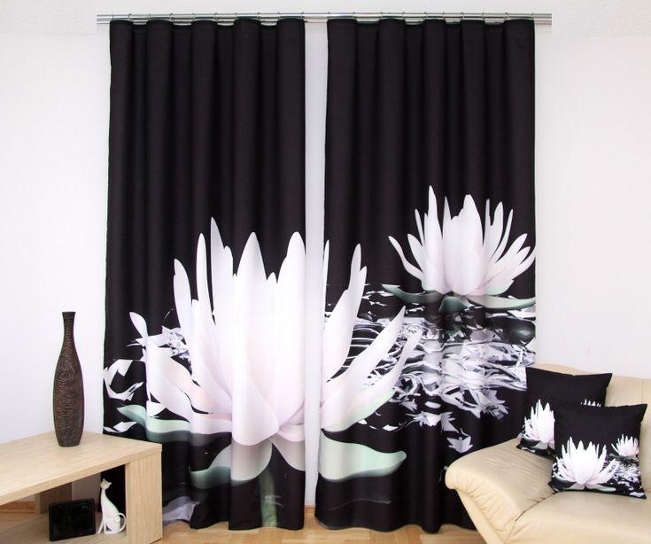 Čierny 3D záves na okno s bielymi leknami