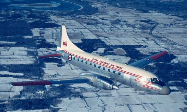 The Canadair CL-66 Cosmopolitan (1959) was a license-built version of the Convair 440, powered CL-66 Cosmopolitan (Canadair Convair 540) by Napier Eland turboprop engines. The aircraft were introduced in RCAF Air Transport Command and and were assigned to 412 Squadron at CFB Uplands (Ottawa) where they were used as the RCAF's primary medium range transport.