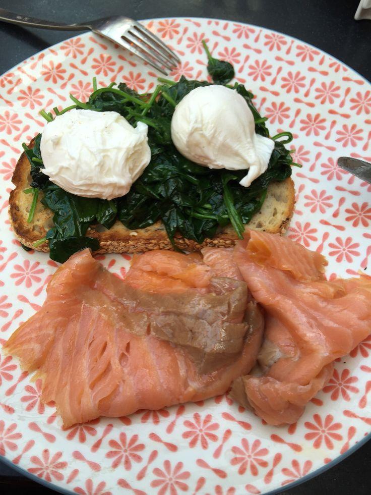 Eggs spinach salmon one piece of multigrain bread