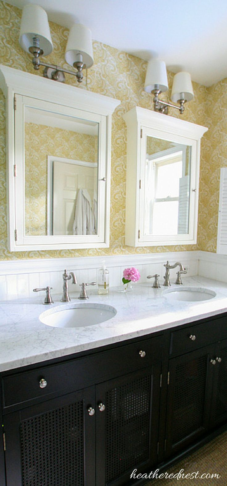 Great design ideas for a main level master bath that functions as a guest bath.  From Heathered Nest...