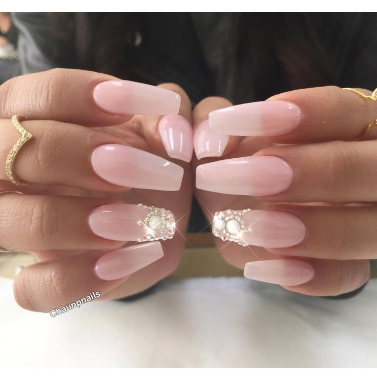 Princess Acrylic Nails: Baby Pink Long Coffin Nails With Princess Crowns For The