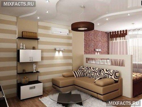 интерьер спальни-гостиной комнаты
