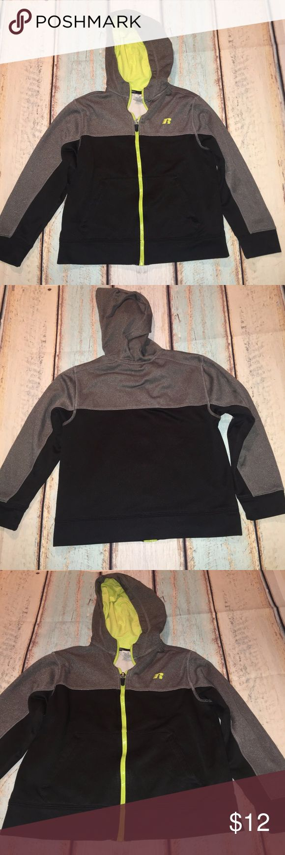 Boy's Russel Zip Up Hoodie Boy's Zip Up Hoodie by Russel Athletics. Pre-Loved. Black/Gray with Neon Yellow Trim. Size M/8. Russell Athletic Shirts & Tops Sweatshirts & Hoodies