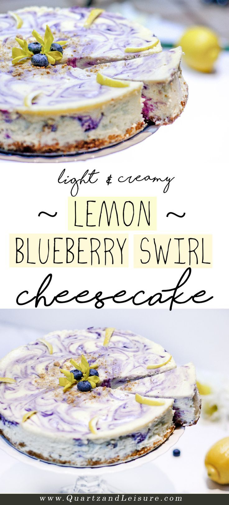 Lemon Blueberry Swirl Cheesecake - Quartz & Leisure